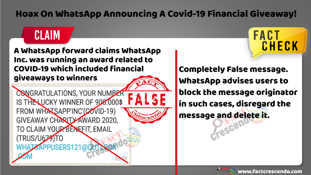 Hoax On WhatsApp Announcing A Covid-19 Financial Giveaway! - Factcrescendo  Sri Lanka - English